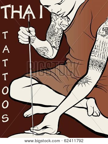 Vector illustration - Monk tattooist - Thai Tattoos