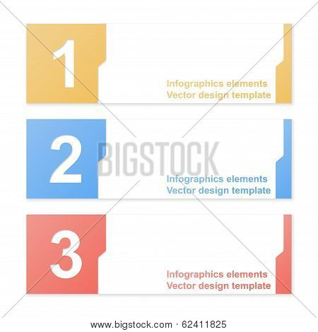 Cut-out Numbered Banners. Design Template. Vector Illustration