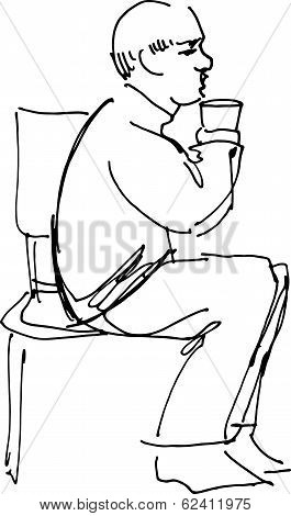 Grandfather Drinking From A Glass Sitting On A Chair