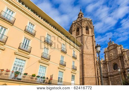 Valencia cathedral and Miguelete in plaza de la Reina square Spain