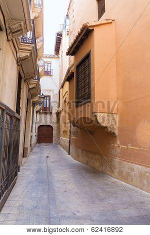 Valencia backstreet in Trinquet de Cavallers street in Spain