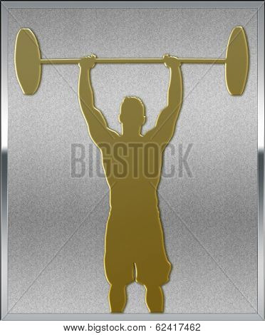 Gold On Silver Weightlifting Sport Emblem