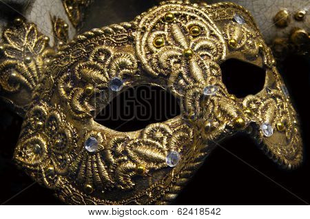 Venetian Artistic Golden Mask On Carnival In Venice