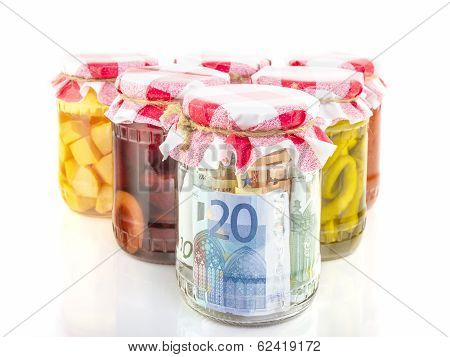 financial reserves money conserved in a glass jar