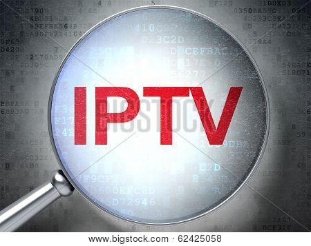 SEO web development concept: IPTV with optical glass