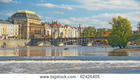 View Of The Prague River Vltava And The Manesuv Bridge