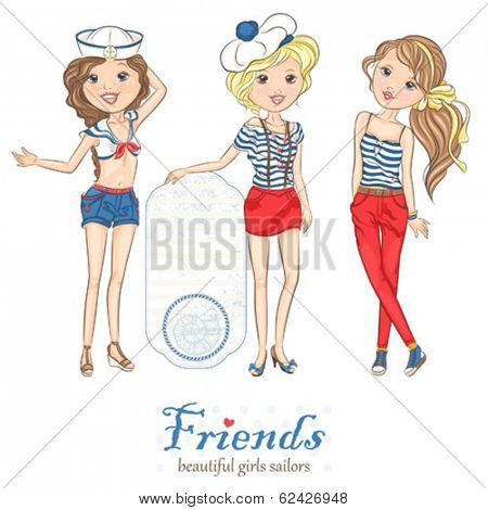 Collection of beautiful girls in the sea stylish clothes, vector illustration.