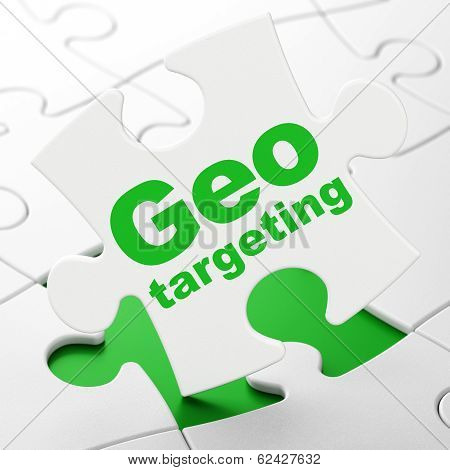 Business concept: Geo Targeting on puzzle background