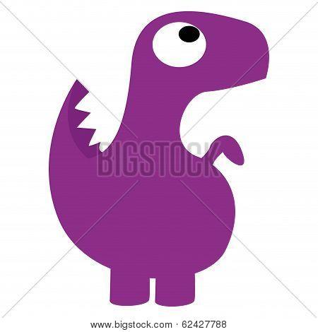 A Vector Cute Cartoon Yellow Dinosaur Isolated