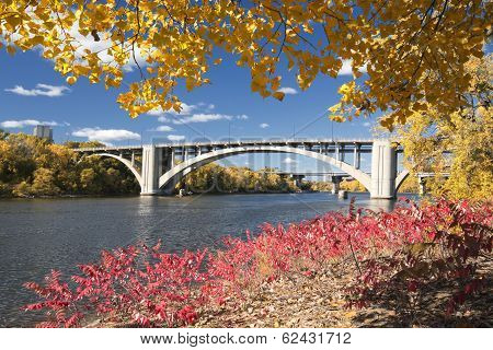 Autumn colors with bridge over the Mississippi River, Minnesota