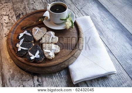 Wedding Cookies With White And Black Sesame. Retro Style.