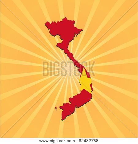 Vietnam map flag on sunburst vector illustration