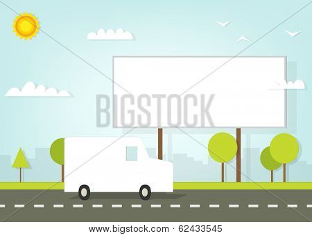 car driving on road near the billboard