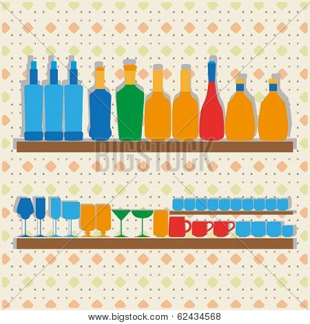 Different Icons Of Silhouettes Of Bootles Glasses And Cups