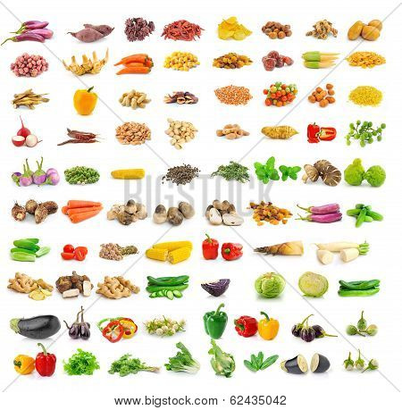 Vegetables And Spices Isolated On White Background