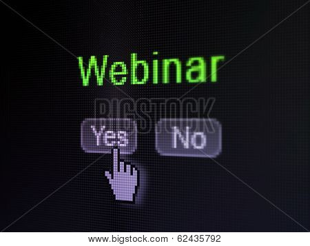 Education concept: Webinar on digital computer screen