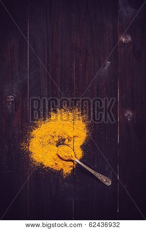 Spilled Curry Powder And Spoon