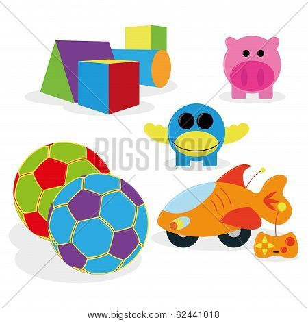 Vector Set Of Different Cartoon Toys Isolated