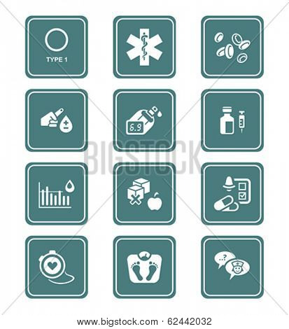 Diabetes health-care life teal icon-set