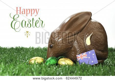 Happy Easter Australian Style Chocolate Easter Egg Bunny Bilby On Grass And White Background With Sa