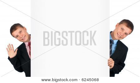 Two Twins Standing By White Blank Card
