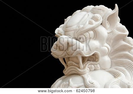 Jade Chinese lion isolation on black