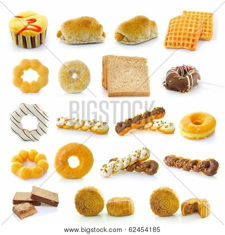 Bread, Donuts, Cakes, Bread, Sausage,  Mooncakes Isolated On White Background