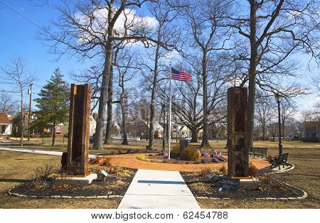 September 11 memorial with columns from  World Trade Center site in East Rockway
