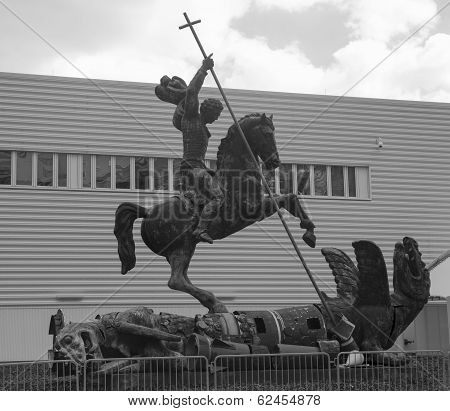 Sculpture titled Good Defeats Evil presented to United Nations by the Soviet Union in 1990