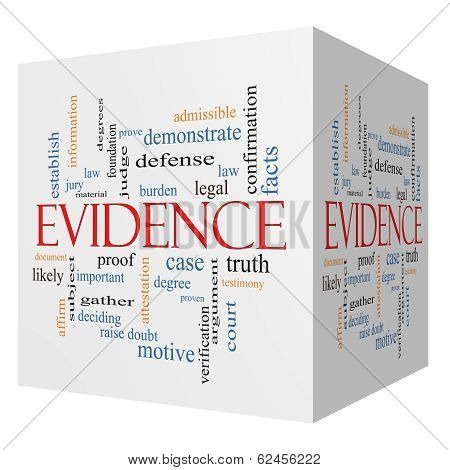 Evidence 3D Cube Word Cloud Concept