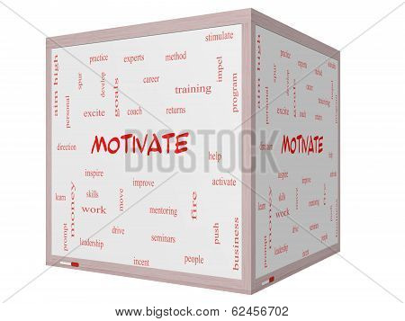 Motivate Word Cloud Concept On A 3D Cube Whiteboard