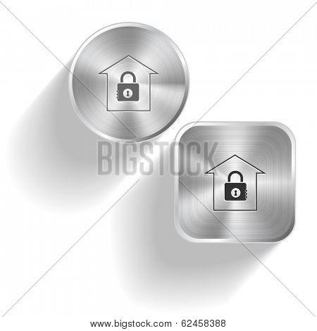 Bank. Vector set steel buttons