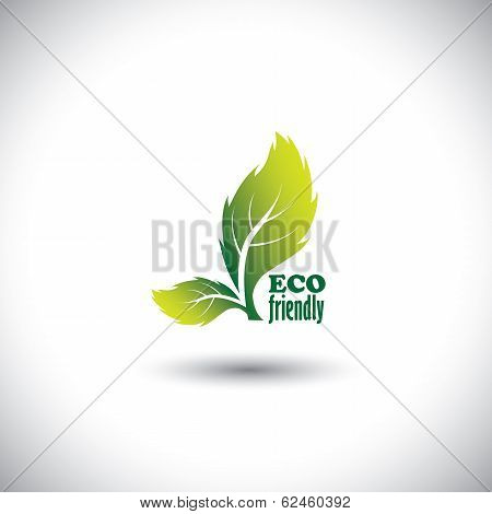 Eco Friendly Concept Showing Green Fresh Vibrant Leaves - Vector Icon