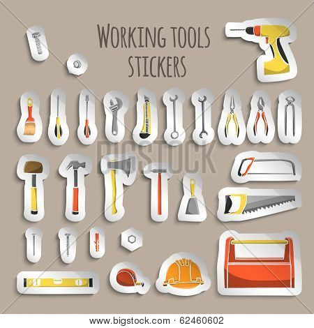 Carpenter working tools icons stickers