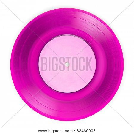 Early 1970s See through pink single EP record or analog disc ( 45 rpm / 7 inch), isolated on white.
