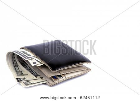 Old black wallet with dollar  isolated on white background