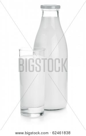 Milk bottle and glass. Isolated on white background