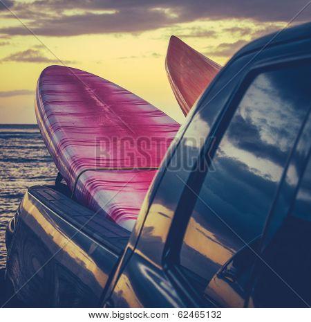 Retro Surf Boards In Truck