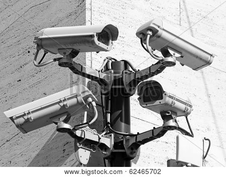 Camera For Video Surveillance And Control In A Dangerous City Point