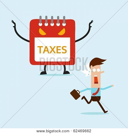 Business Man Running Away From Tax Monster