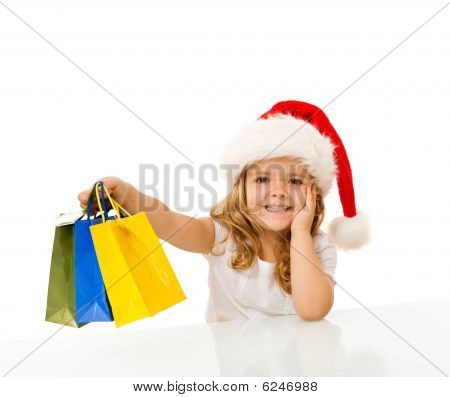 Happy Little Girl Christmas Shopping