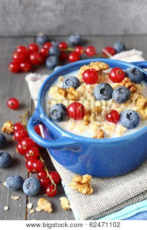 Healthy Tasty Homemade Oatmeal With Berries For Breakfast