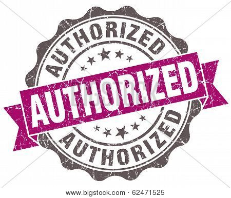 Authorized Violet Grunge Retro Style Isolated Seal