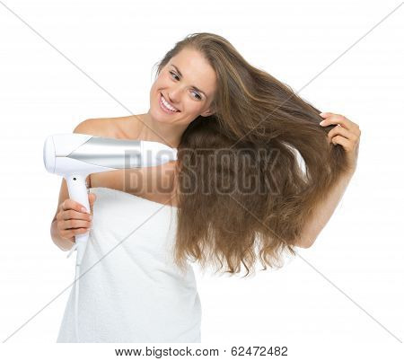 Smiling Young Woman Blow-dry