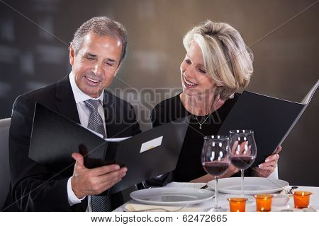Mature Couple  Choosing Menu