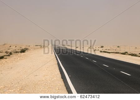 Road Through The Desert In Qatar