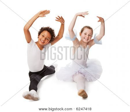 Interracial  Children Dancing Together, Isolated On White