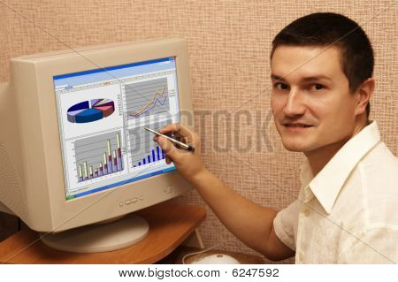 man and graph