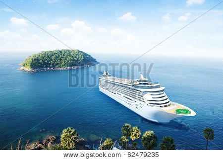 3D Cruise Ship by an Island
