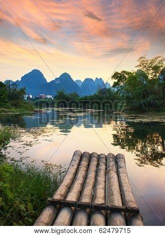 Bamboo rafts in idyllic li river scenery,Sunset landscpae of yangshuo in guilin,china